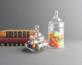 Vintage Storage Jars, Candy Jars, Wedding Candy Bar Jars, Supply Jars, Bathroom Jars, Kitchen Jars, Apothecary Jars, Set of 2