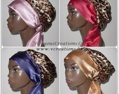 Sweet Sleep Slumber Satin Bonnet-Cap-Cheetah-Pink-Red-Purple-Gold