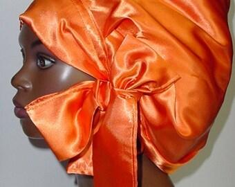 Sweet Sleep Satin Bonnet-Cap-Locs-Natural Hair-Orange-Tangerine