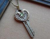 75% Off Sale-Steampunk Vintage Key Necklace, Wings- Peridot- August Birthstone