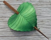Leather Hair Accessory - Emerald Green Birch Leaf Barrette Hair Stick, Hair Slide Or Shawl Pin
