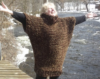 Handknit poncho sweater, chunky knit poncho, long knit cover up, knitted wrap, brown tweed, boho clothing women large XL plus men large XL