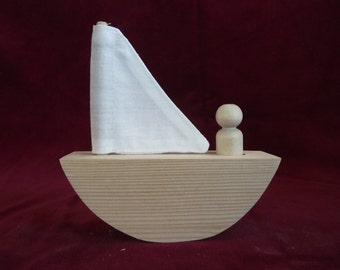 Rocking Sailboat with #8 Peg Doll, Unfinished Pine Boat