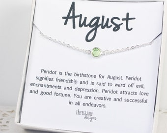August Birthstone Silver Necklace, Peridot Swarovski Birthstone Silver Necklace, August Birthday Gift, Birthstone Jewelry, Gifts Under 20