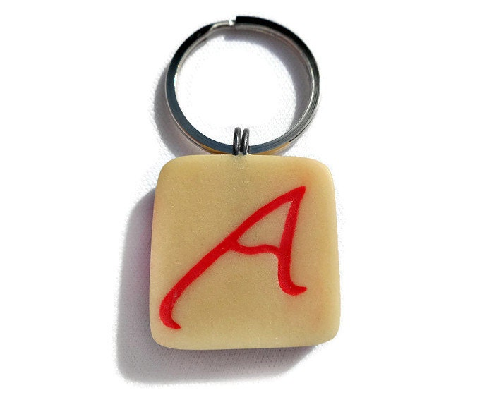Atheist Symbol Key Ring Glow In The Dark Polymer Clay With Inlaid