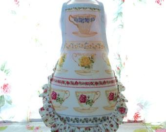 Floral Tea Cups Ruffle - Dish Soap Bottle Apron - fits 25 oz.