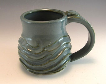 Hand Made Pottery Wave Mug/Ocean Pottery Coffee Mug/Cup-8-9 OUNCES