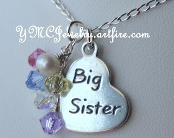 Sterling Silver Little Sister/Big Sister Heart Charm Necklace, Freshwater Pearl Necklace,Multicolour Dangle Pendant, Little Sister Neckclake