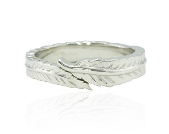 Men's Wedding Ring with Etched Quill Design in 14k White Gold - Plume Wedding Band for Him - LS4596