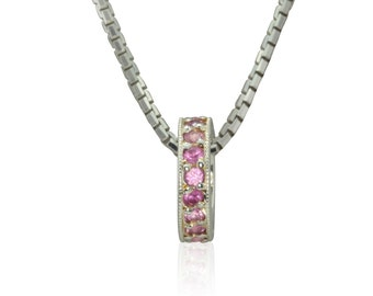 Pink Sapphire Mother's Pendant with Milgrain in 14k White Gold - October Birthstone Gift - Circlet Collection - LS3054