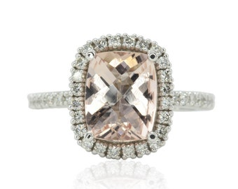 Morganite Engagement Ring - Diamond Halo Ring with 8x10mm Cushion Cut Peach Morganite and Filigree - LS4655