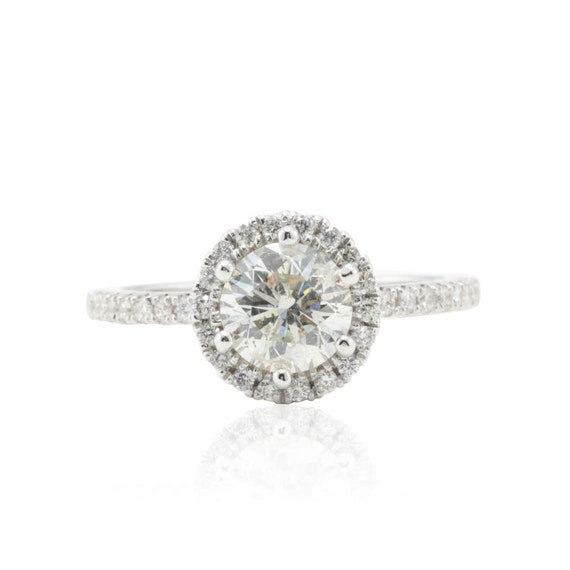 Diamond Engagement Ring with Round Halo and Hidden Diamond Petals in 14k White Gold - LS925