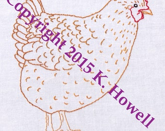 Hand Embroidery Pattern-Hen-Chicken-Farm