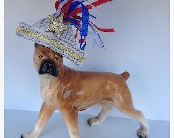 Fourth of July Decoration Vintage Ucago Japan Porcelain Boxer Dog Fourth of July Ornament  Patriotic TVAT