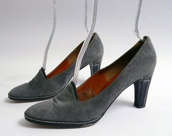 Vintage Grey Pumps Stitched Heel 9.5