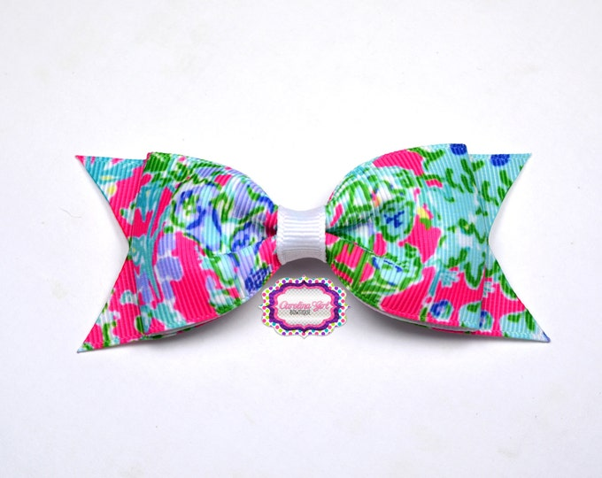 "Southern Charm ~ 3.5"" Hairbow ~ Lilly Inspired ~ Small Hair Bow ~ Girls Barrette ~ Toddler Bow ~ Hair Clip ~ Girls Hair Bow"