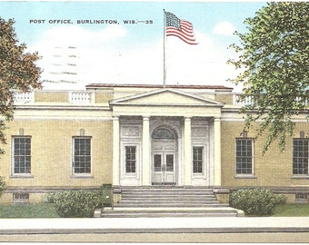 Post Office, Burlington, Wis Vintage 20's - 40's Linen Postcard