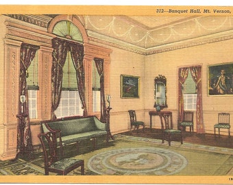 Home of Washington, Mt. Vernon, VA Vintage 20's -40's Linen Postcard