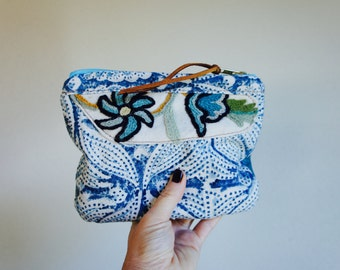 Indigo Block, Textile, and Leather Pouch//Reversible