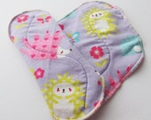 Set of 2 Mauve Hedgehogs Printed Flannel Reusable Cloth Mama Pads . 8 Inch FREE Shipping