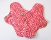 Set of 2 HEAVY Mama Cloth Pad .. Great for Postpartum .. 12 inch Coral Flowers FREE Shipping