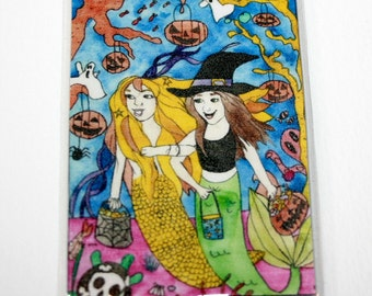Halloween Mermaid Magnet Fantasy Art Refrigerator Magnet Mermaid Friends Magnet Trick or Treat Tour Magnet Mermaid Illustration Pumpkins
