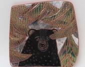 bear on the trail hand carved ceramic art tile
