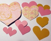 Valentine Hearts Kit Pinks and Yellow and Gold Swirls, Delicate Pastel Floral