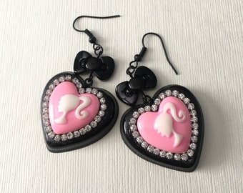SALE Sparkle Glam Barbie Pink and Black Heart Dangle Earrings