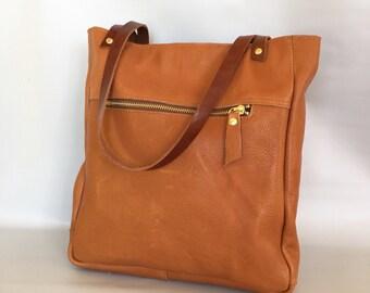 Leather tote bag - cognac brown