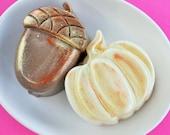 Pumpkin AcornSoaps - Fall Soap Set - Sugar Cookie White Pumpkin Soap - Chocolate Brownie Brown Acorn Soap - Fall Soap Set