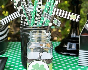 Straw Flags - St Patricks Day Donut Pinch Me Shamrock Water Bottle Label Printables - INSTANT DOWNLOAD