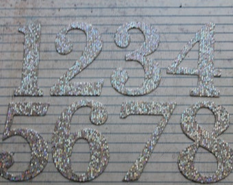 Self Adhesive 2 1/2 inch tall Numbers 1-12 silver prism mirrorball cardstock diecuts great for wedding table numbers