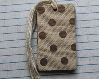 28 burlap with polka dot patterned paper over chipboard gift tags