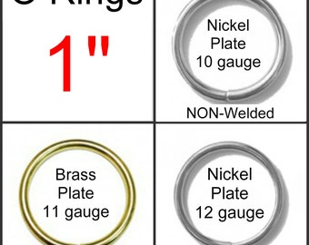 "10 PIECES - 1"" - Metal O Ring - Welded or Non Welded - NICKEL or BRASS Plate Finish"