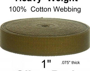 """60 Yards - 1"""" - 100% COTTON HEAVY Weight Webbing Strap, 1 inch - OLIVE Drab"""