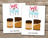 PRINTABLE - Kids Valentine Day Cards - Peanut Butter and Chocolate - We Go Together - 3.5 x 4.5 - Personalized