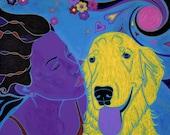Golden Retriever Puppy Love Dog Pop Art MATTED Print by Angela Bond