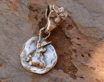 Bunny Rabbit Charm with Adorned Flower Bail in Sterling Silver