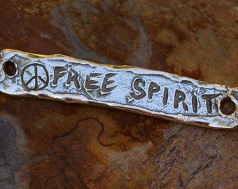 Free Spirit with Peace Bracelet Link in Sterling Silver, 419