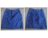 Vintage 80's Jean St Tropez Blue Denim Jean High Waist Skirt S