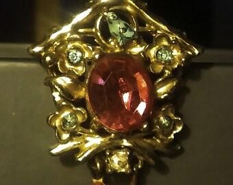 Charming Vintage Cuckoo Clock Pin / Brooch Blue Bird Red Stones