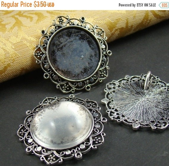10% OFF SALE - 2PCS Antique Bronze Cameo Base Setting Pendant With Free 25Mm Glass Cabochon As120