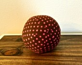 Fabric Ball - Baby Ball - Brown - Pink - Dots