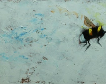 Bee painting 371 12x24 inch insect animal portrait original oil painting by Roz