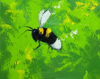 Bee painting 363 12x12 inch insect animal portrait original oil painting by Roz