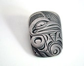 Pewter Raven Pin, American Indian Jewelry, Vintage Tribal Brooch, Northwest Coast Indian, Canada Boho Accessory, Mythic Silver Metal Brooch