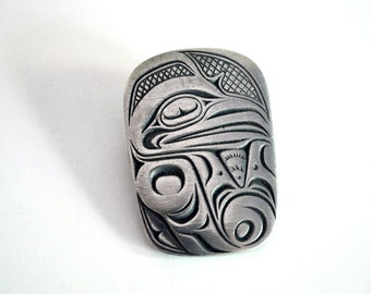 Vintage Pewter Brooch Northwest Coast American Indian Raven Pin Canada Tribal Jewelry Frederick Boho Accessory Mythic Trickster Silver Metal