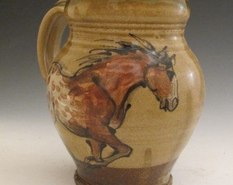 Extra Large mug with slip trailed appaloosa horses