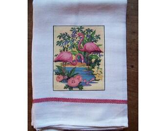 Flamingo dish towel retro 1950's Florida kitsch vintage rockabilly kitchen